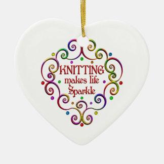 Knitting Sparkles Ceramic Heart Decoration