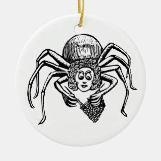 Knitting Spider Round Ceramic Decoration