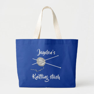 Knitting Stash personalised for a knitter Large Tote Bag
