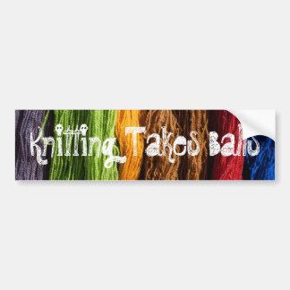 Knitting Takes Balls Bumper Sticker