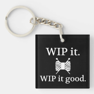 Knitting • WIP It Good Crafts {Dark} Single-Sided Square Acrylic Key Ring