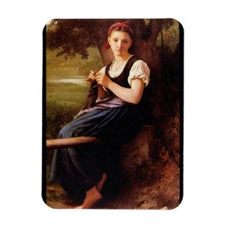 Knitting Woman by William-Adolphe Bouguereau Rectangular Photo Magnet
