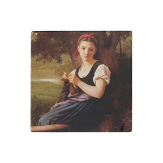 Knitting Woman by William-Adolphe Bouguereau Stone Magnet