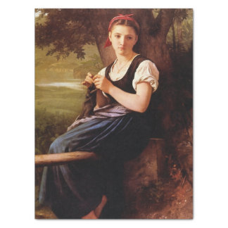 Knitting Woman by William-Adolphe Bouguereau Tissue Paper