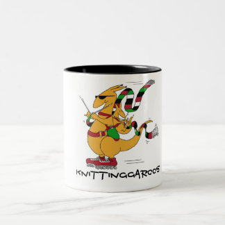 Knittinggaroos Rollerblading Two-Tone Coffee Mug