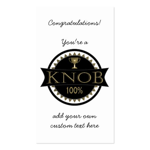 Knob Award Custom Business Cards