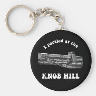 Knob Hill Keychain- White On Black Basic Round Button Key Ring