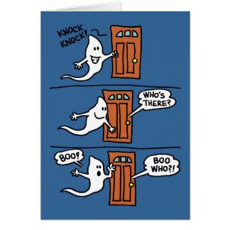 Knock Knock Halloween Cartoon Ghost Kids Greeting Card