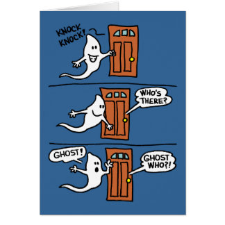 Knock Knock Halloween Cartoon Ghost Kids Greeting Card