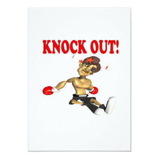 Knock Out 4 13 Cm X 18 Cm Invitation Card