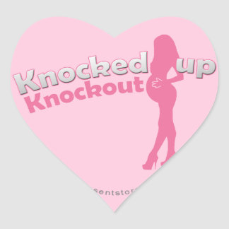 Knocked Up Knockout Baby Shower Mom-to-Be Heart Sticker