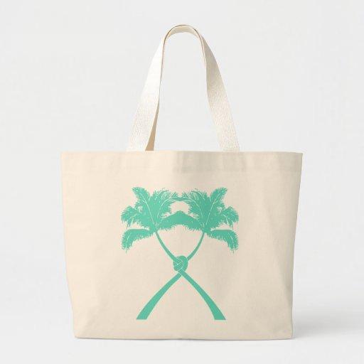 Knot Palm Trees Beach Tropical Wedding Modern Chic Canvas Bag
