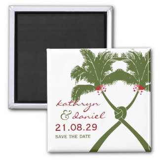 Knot Palm Trees Beach Tropical Wedding Modern Chic Square Magnet