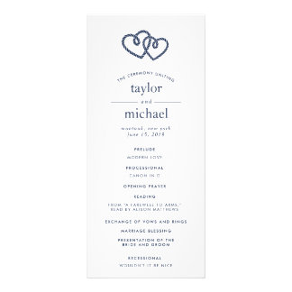 Knotted Hearts Wedding Ceremony Program Rack Card