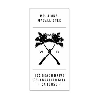 Knotted Love Palm Trees Beach Wedding Rubber Stamp