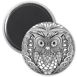 Knotted Mandala Owl Black and White Magnet