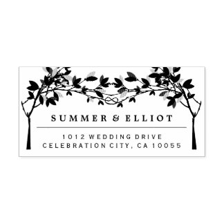 Knotted Trees Rustic Wedding Self Inking Stamp