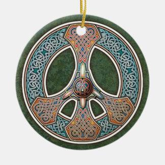 Knotwork Peace Sign Pendant/Ornament Ceramic Ornament