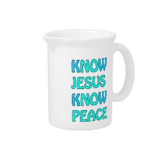 Know Jesus Know  Peace No Jesus No Peace Light Blu Beverage Pitcher