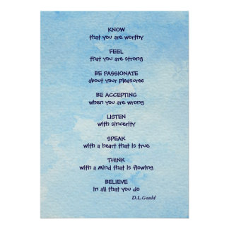 'KNOW that you are worthy' affirmation poem poster