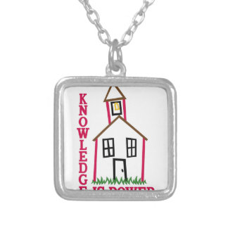 Knowledge Is Power Square Pendant Necklace