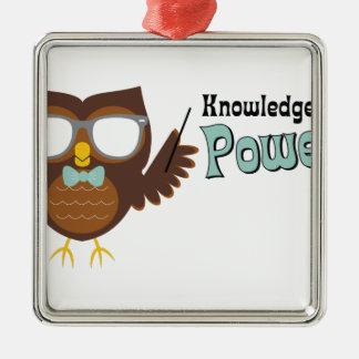 Knowledge Owl Silver-Colored Square Decoration