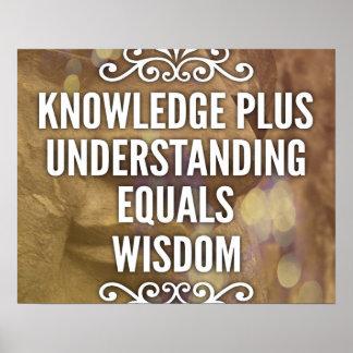Knowledge Plus Understanding Wisdom Poster