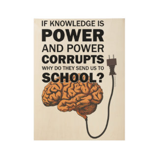 Knowledge Power Funny Quote Ironic Meme Brain Wood Poster