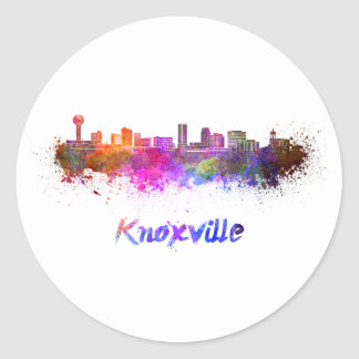 Knoxville skyline in watercolor classic round sticker
