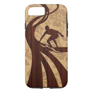 Koa Wood Surfer Faux Wood Surfboard iPhone 8/7 Case