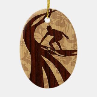 Koa Wood Surfer Surfboard Ceramic Ornament