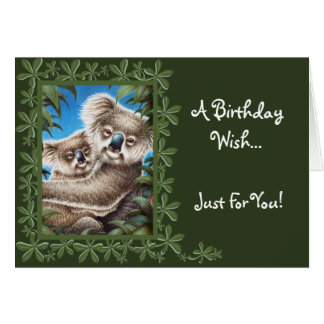 Koala and Baby Birthday Card
