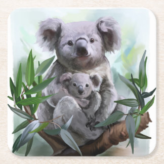 Koala and her baby square paper coaster