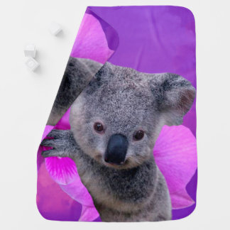 Koala and Orchids Baby Blanket