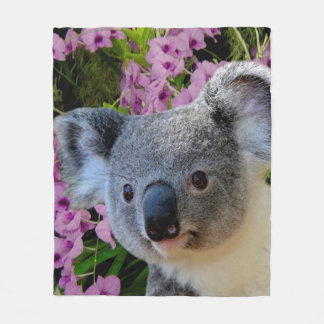 Koala and Orchids Fleece Blanket