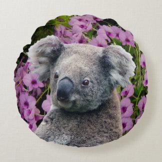 Koala and Orchids Round Cushion