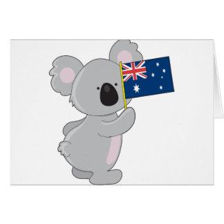 Koala Australian Flag Greeting Card