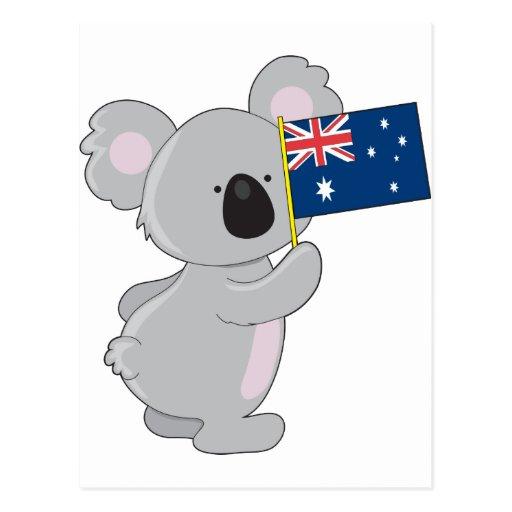 Koala Australian Flag Postcards