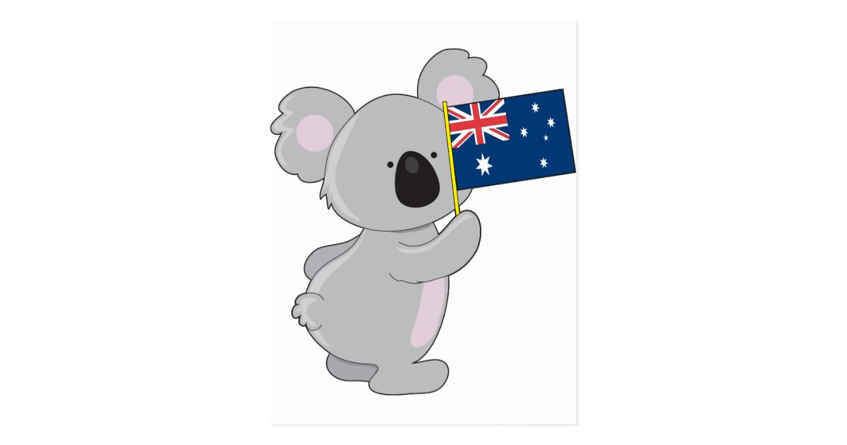 Koala Australian Flag Postcard Zazzle Com Au