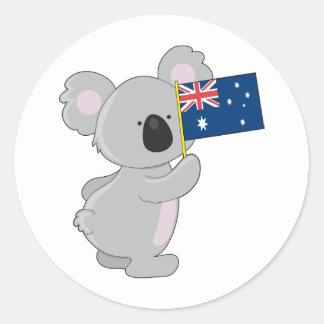 Koala Australian Flag Round Sticker