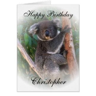 Koala Bear Birthday Card Just Add Name