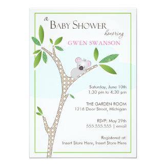 Koala Bear - Girl Baby Shower Invitation
