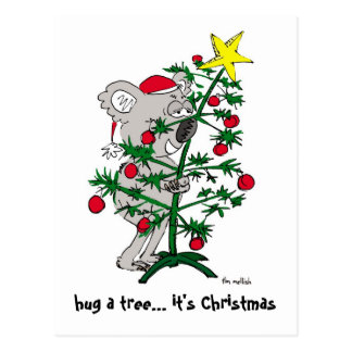 Koala bear hugging a Christmas tree Postcard