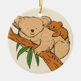 Koala Bear Mama & Baby Ceramic Ornament