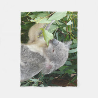 Koala Eating Gum Leaf Fleece Blanket