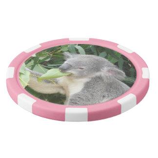 Koala Eating Gum Leaf Poker Chips