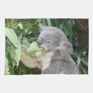 Koala Eating Gum Leaf Tea Towel