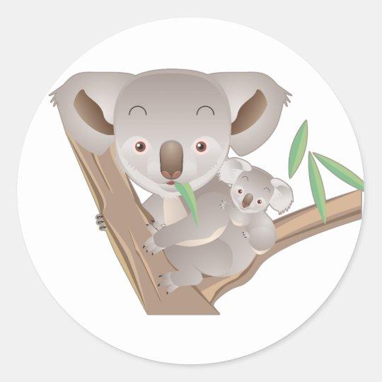 Koala Family Round Sticker