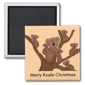 Koala Fun Christmas Square Magnet