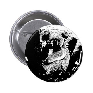 Koala in Black and White Buttons